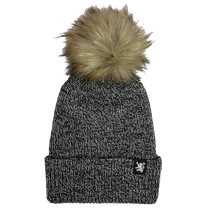 Classic Lion Pom Pom Toque in Marled Black