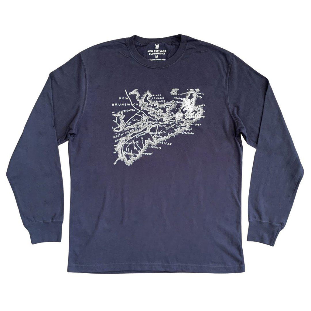 100% Cotton Old Map Long Sleeve Tee in Navy