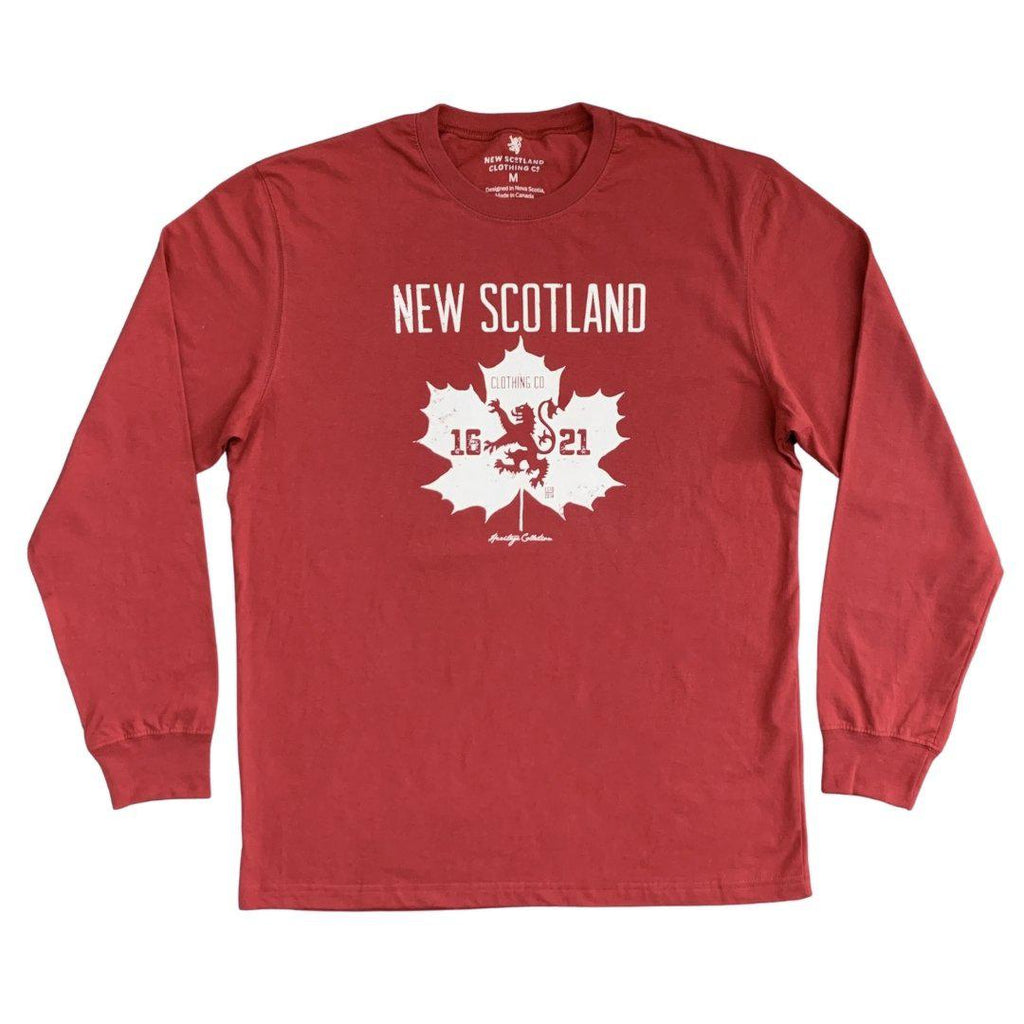 100% Cotton Canadian Heritage Long Sleeve Tee in Red