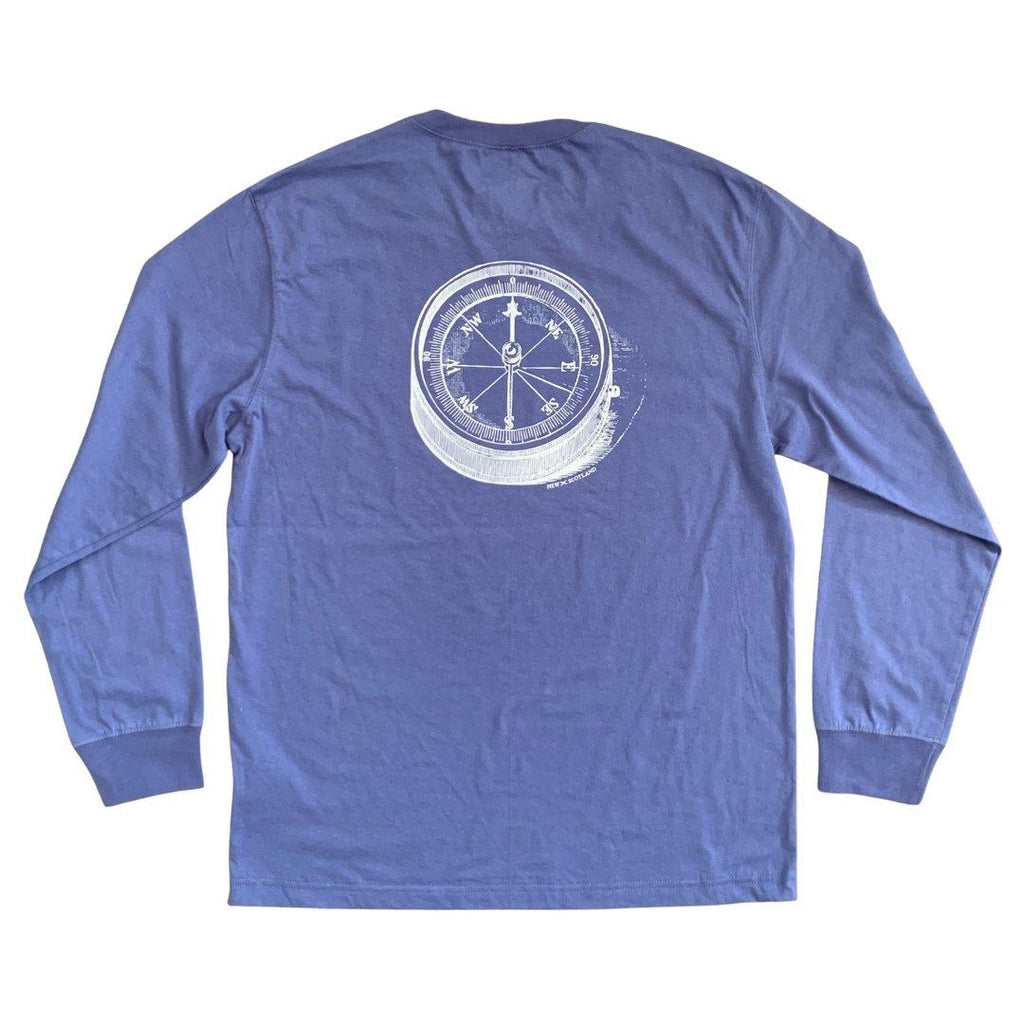 100% Cotton Compass Long Sleeve Tee in Washed Royal
