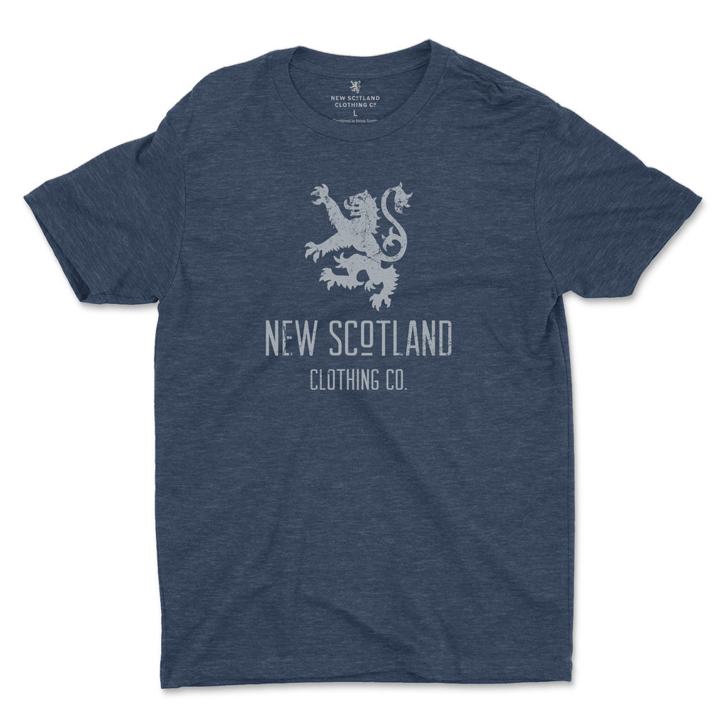 50/50 Organic Recycled Vintage Lion T-shirt in Heather Navy