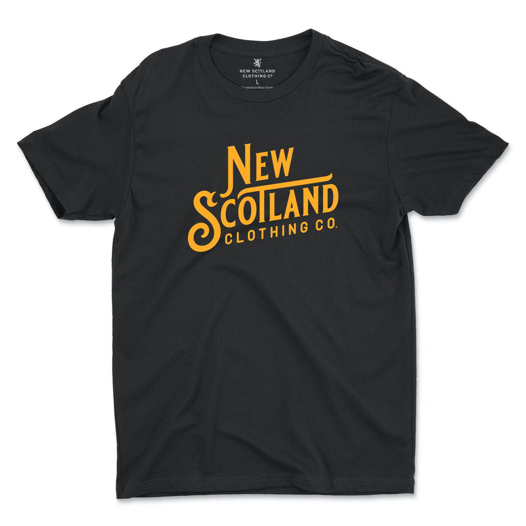 100% Ring Spun NSC Wordmark T-Shirt in Black/Gold