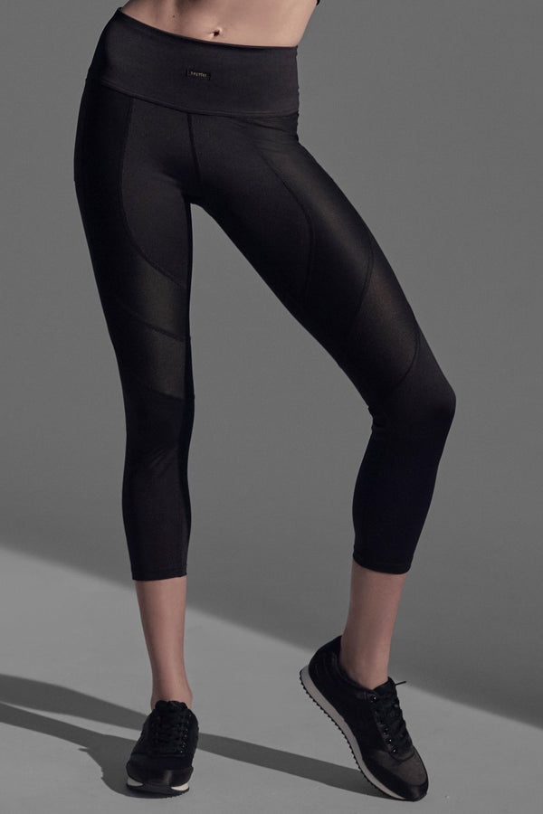 Racer Crop Leggings Leggings Daquïni Black