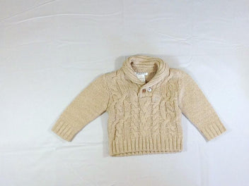 Pull col châle beige chiné