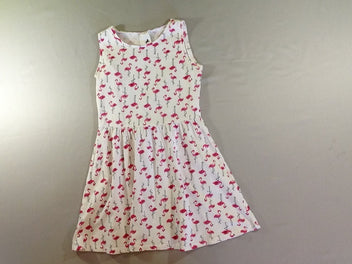 Robe s.m jersey blanc flamants roses