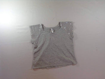 T-shirt court m.c gris chiné sequins
