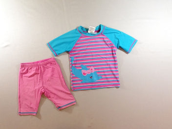 T-shirt m.l rose/bleu dauphin + short anti-Uv