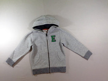 Sweat zippé à capuche gris chiné E