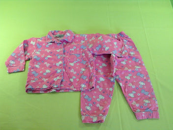 Pyjama 2p flanelle rose chats/chiens