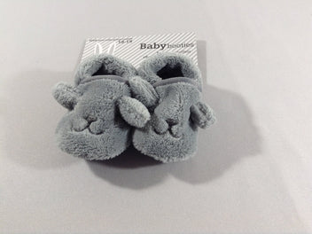 NEUF Chaussons peluche lapin gris 18-19