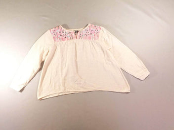 Blouse coton rose broderies