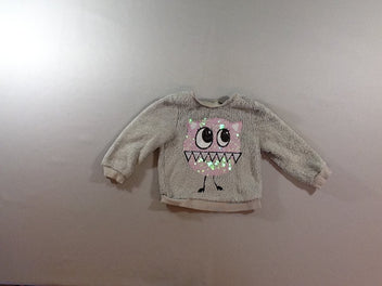 Pull velours gris monstres sequins