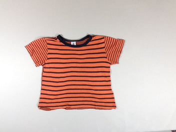 T-shirt m.c rayé orange noir