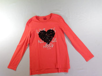 T-shirt m.l orange vif coeurs sequins