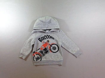 Sweat à capuche gris chiné moto