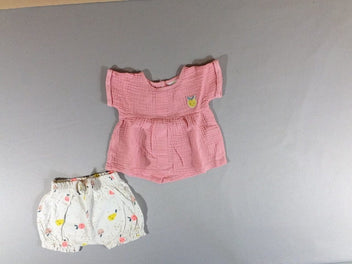 Blouse m.c rose citron + short bloomer jersey écru fruits