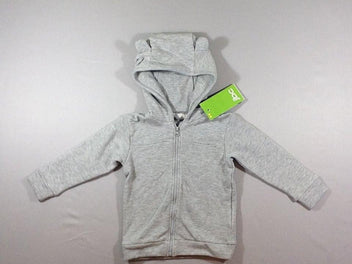 NEUF Sweat zippé à capuche gris chiné