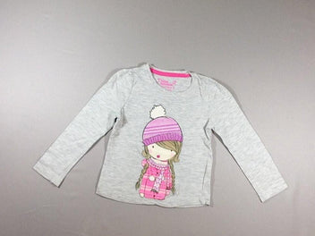 T-shirt m.l gris chiné fille bonnet