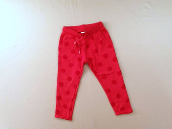Pantalon molleton rose vif pois à revers