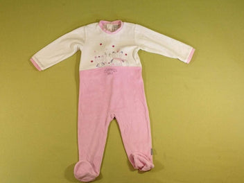 Pyjama velours blanc rose ours