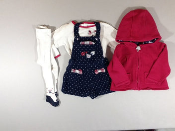 Salopette short bleu marine pois + t-shirt m.l blanc/rose + gilet à capuche rose + collants