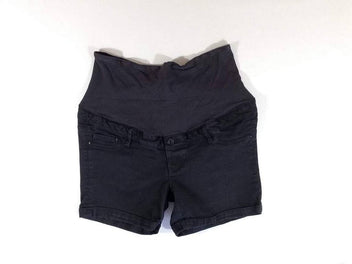Short à revers jean noir