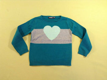 Pull turquoise/gris coeur