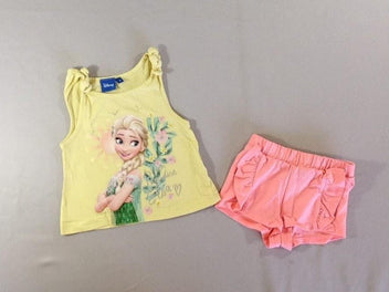 Top jaune + short jersey rose Elsa