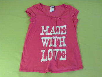 T-shirt m.c rose vif « Made with love »