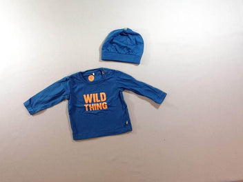 T-shirt m.l. bleu wild thing + bonnet bleu