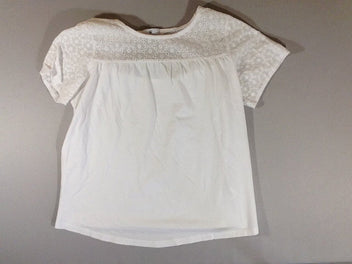 T-shirt m.c blanc broderies dos ouvert