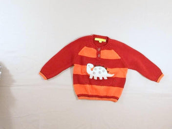 Pull rayé rouge/orange dinosaure