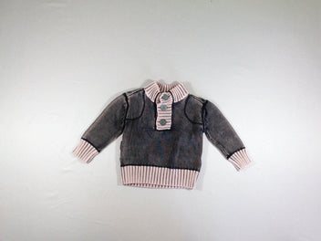 Pull col montant noir chine rose