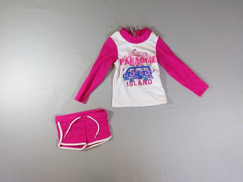 Maillot de bain tee-shirt et short court anti-UV bus Island