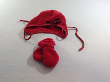 Bonnet velours rouge + moufles