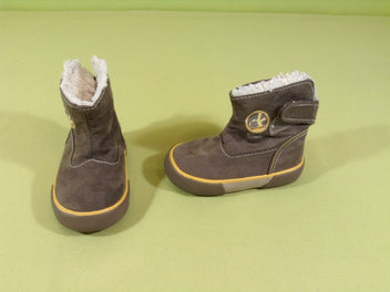 Bottines brunes doublées peluche, T.20