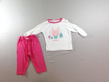 Pyjama 2pcs jersey blanc/rose Sweet dreams