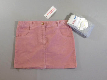 NEUF Jupe velours côtelé rose + collants gris chiné