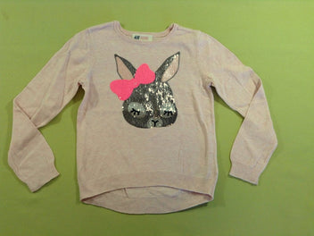 Pull rose chiné lapin sequins
