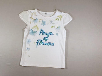 T-shirt m.c blanc fleurs sequins Power of flowers