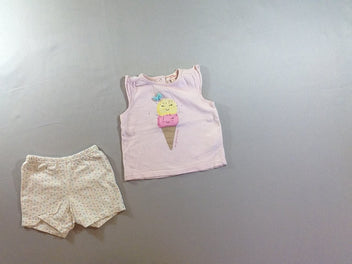 T-shirt m.c rose glace + short jersey
