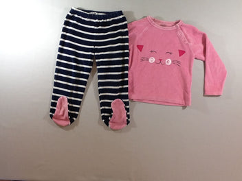 Pyjama 2pcs velours rose chat