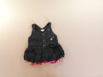 Robe boule salopette denim boutons