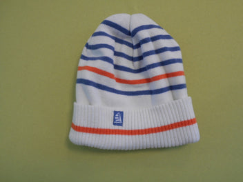 Bonnet blanc rayé bleu/orange