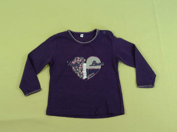 T-shirt m.l mauve coeur True Love