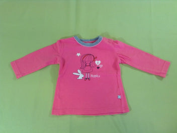 T-shirt m.l rose/gris fille lapin