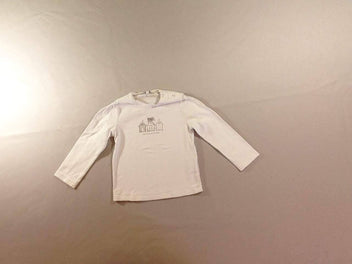 T-shirt m.l blanc cabines strass
