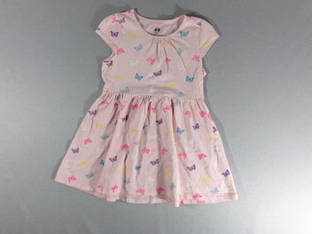 Robe jersey m.c rose papillons multicolore