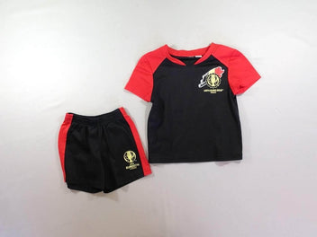 Ensemble de foot t-shirt + short noir/rouge