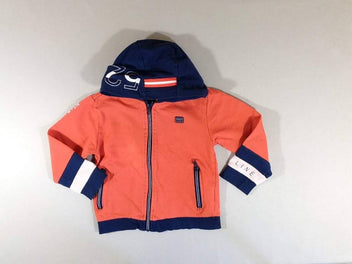 Sweat zippé à capuche orange bleu
